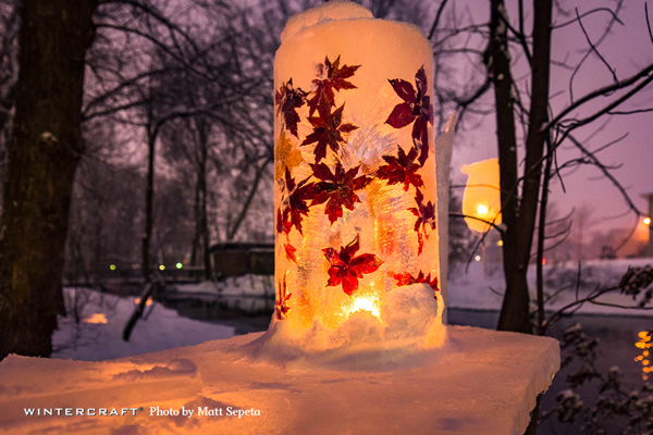 Close up of the Leaf Flower Tower on the ice bar at the 2018 Middlemoon Creekwalk Wintercraft Ice Wrangler