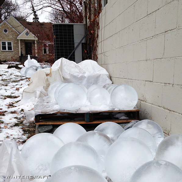 Storing Globe Ice Lanterns on the North side of the house or in the shade, Wintercraft, Solutions to heat with ice lanterns