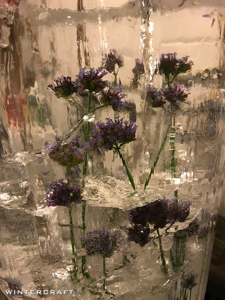 Close up of Floral Bucket Ice Lantern