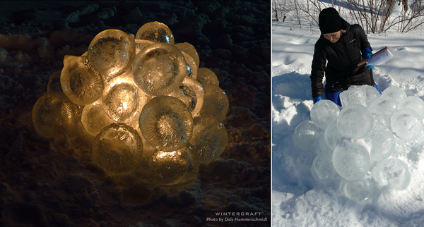 one of 3 Ice Luminary Sculptures called Lake Harriet Caviar at 2018 Middlemoon Creekwalk photo by Dale Hammerschmidt