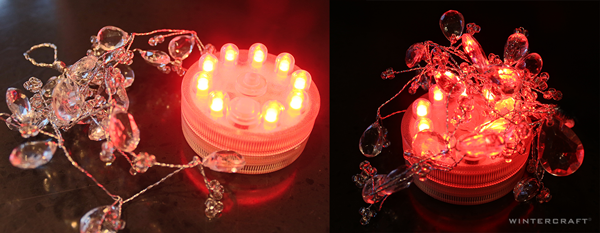 Red Rotating Color LED Light w Crystals to diffuse the super bright bulb