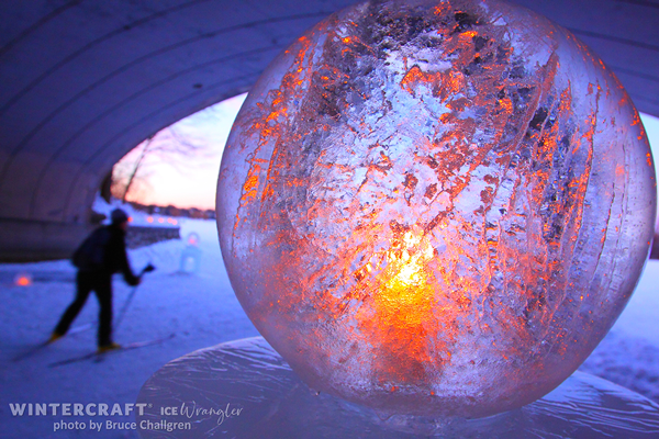 Sun etched Globe Ice Lantern by Ice Wrangler photo by Bruce Challgren