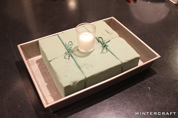 Use Floral Foam in Cake Pan for a Globe Ice Lantern Centerpiece Wintercraft