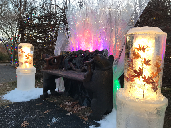 Week 1 of Ice Wrangler Fire and Ice installation at the MN Landscape Arboretum