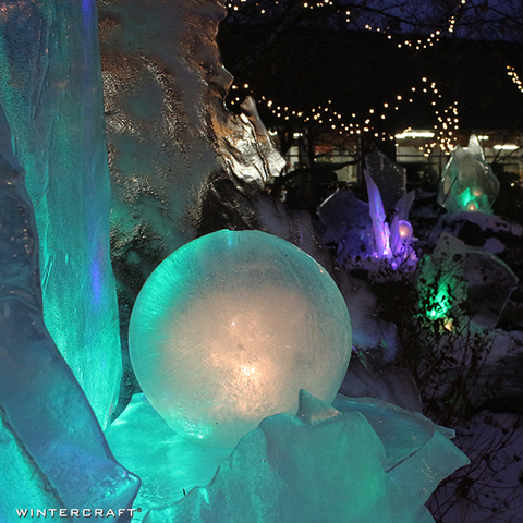 Wintercraft Ice Luminary display at REI event -Teal