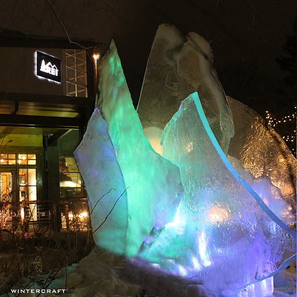 Globe Ice Lantern Ice Glass Display at the Bloomington REI store. Lights to create Northern Lights.