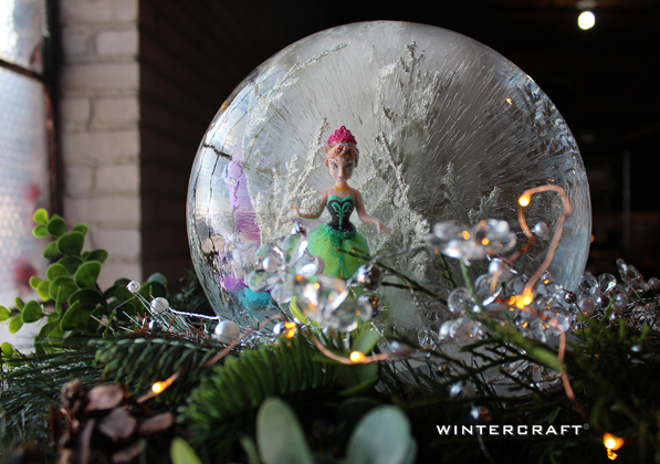 A studio shot of the Anna globe before heading out the Ice Castle!
