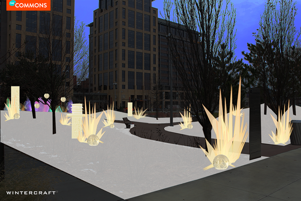 Wintercraft Proposal Image for Midwinter Light in The Commons park in downtown Minneapolis, Minnesota