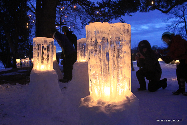 WIntercraft Finnish Glass Ice Luminaries by Jennifer Shea Hedberg The Ice Wrangler for Luminary Loppet Enchanted Forest 2016