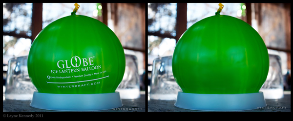 Wintercraft Globe Ice Lantern Balloon Branding