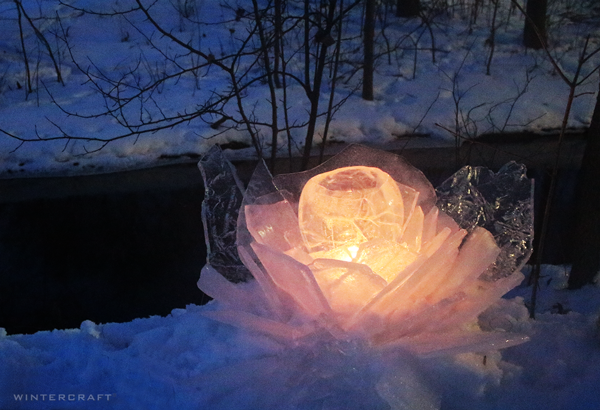 Wintercraft Globe Ice Lantern Ice Glass Flower Middlemoon Creekwalk Luminary event Minneapolis Minnesota