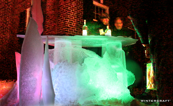 Wintercraft Ice Bar with LED lights by Jennifer Shea Hedberg, the Ice Wrangler