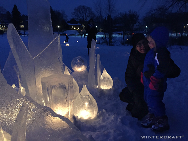 Wintercraft Ice Luminary Sculpture by Jennifer Shea Hedberg The Ice Wrangler for Luminary Loppet Enchanted Forest 2016