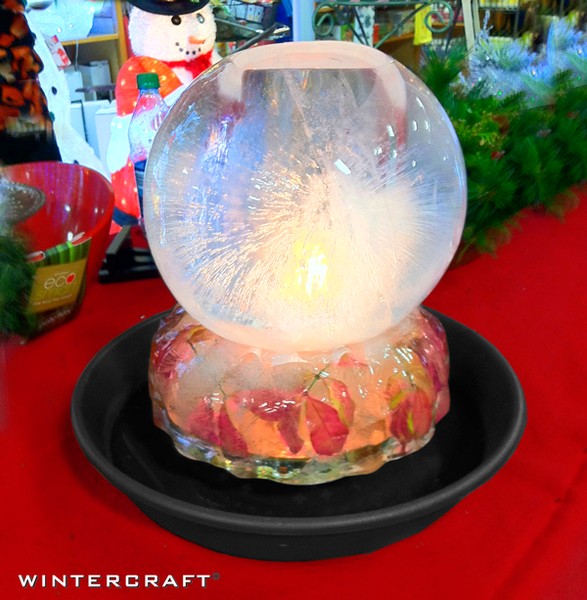 Wintercraft Leaves in Bundt pan make nice base for Globe Ice Lantern