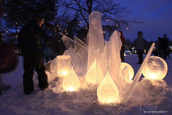 WIntercraft Tear Drop Ice Lanterns by Jennifer Shea Hedberg The Ice Wrangler for Luminary Loppet Enchanted Forest 2016
