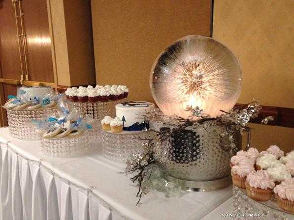 An extra large globe on a dessert table at the gala fundraising event for the John Beargrease Sled Dog Marathon
