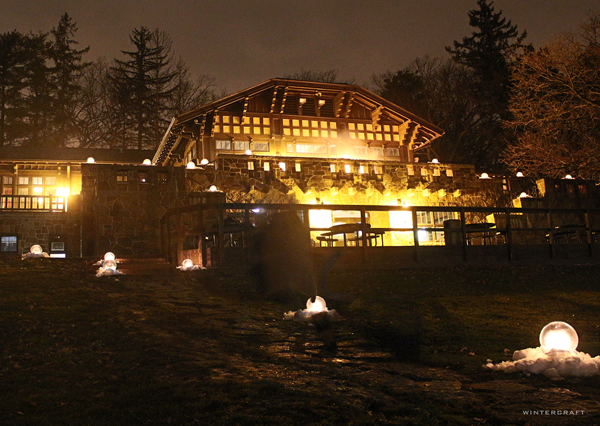 The Front Entrance of the Theodore Wirth Chalet with Globe Ice Lanterns Wintercraft