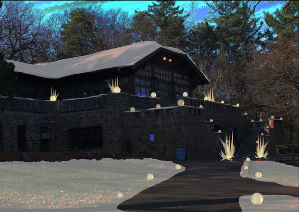 Sketch for Client - Option 1 Wintercraft at Theodore Wirth Park Globe Ice Lanterns + Ice Glass