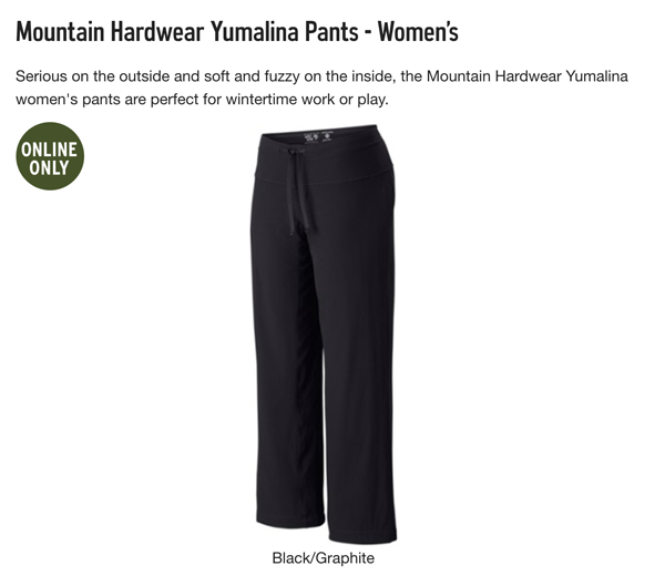 Jen loves Mountain Hardwear Yumalina Pants from REI