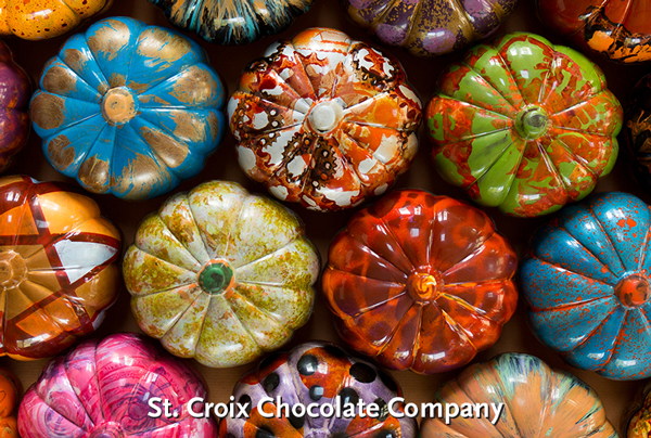 pumpkin-shaped chocolates at St. Croix Chocolate Company - SOLD OUT