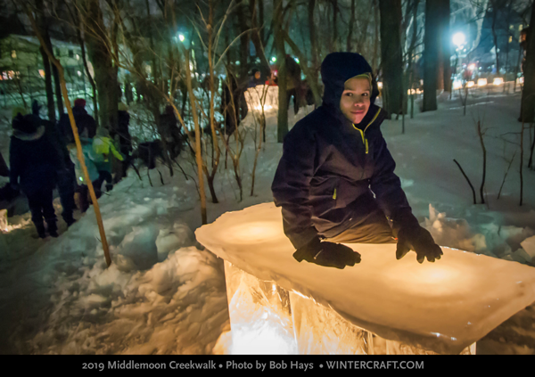 On the ice lantern bench 2019 Middlemoon Creekwalk photo by Bob Hays wintercraft