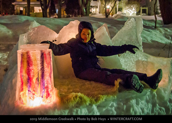 Relaxing on the fur-covered ice throne - 2019 Middlemoon Creekwalk photo by Bob Hays wintercraft