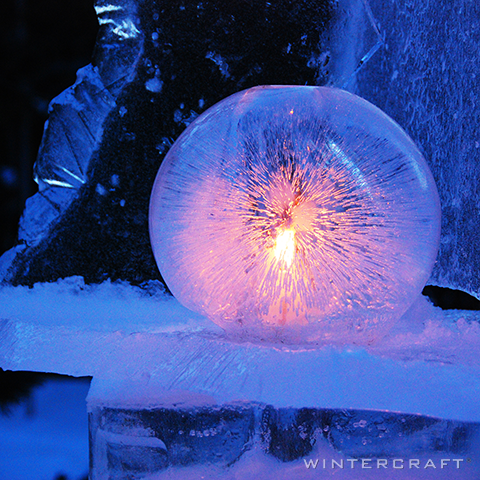 Wintercraft Beautiful Orange Ice Lantern