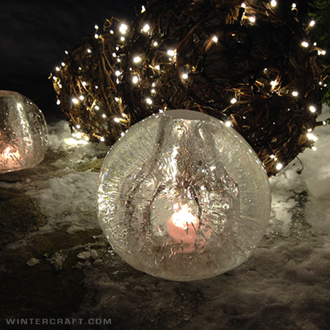 Use Wintercraft spherical Ice luminary kits to create