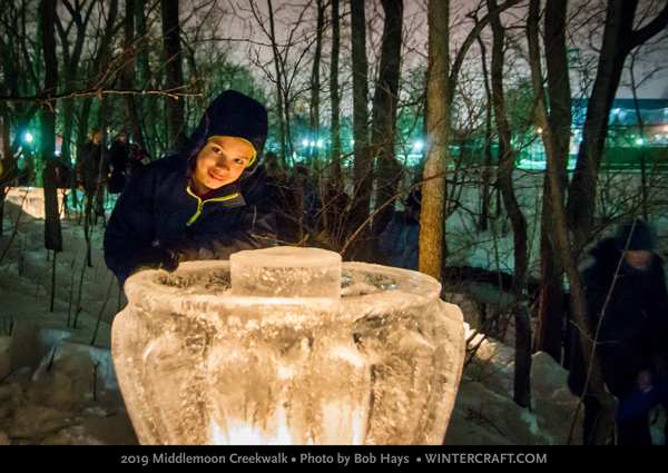 Looking in the super big ice lantern 2019 Middlemoon Creekwalk photo by Bob Hays wintercraft.com