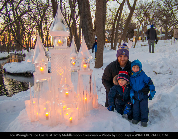 Family near the 2019 ice castle by Jennifer Shea Hedberg middlemoon creekwalk photo by bob hays wintercraft