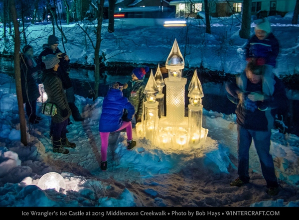 The crowds gathered as the sun went down around the ice castle. Middlemoon Creekwalk 2019 Photo by Bob Hays Wintercraft