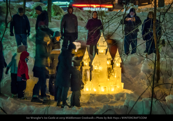 People with 2019 Middlemoon Creekwalk ice castle photo by bob hays wintercraft