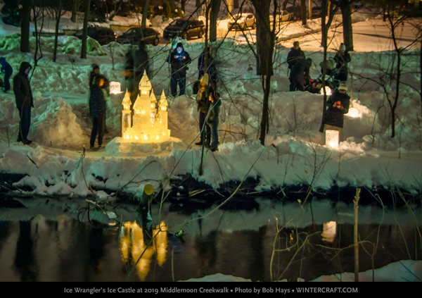 People looking at 2019 Middlemoon Creekwalk ice castle from a distance. Photo by Bob Hays Wintercraft Ice Wrangler