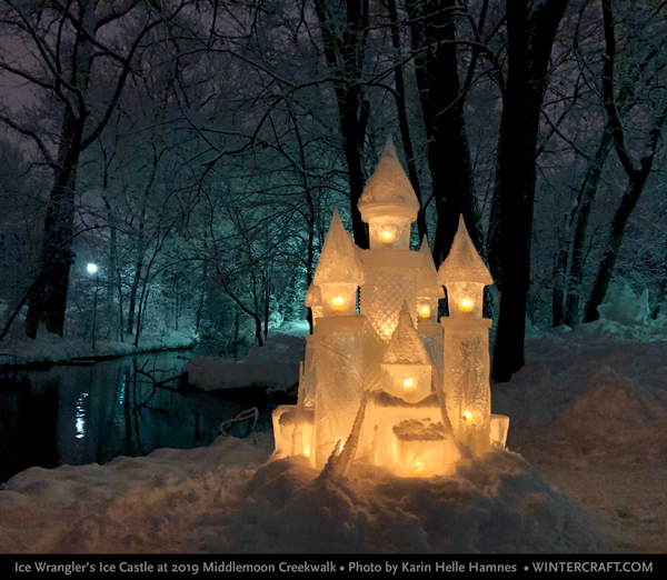 2019 Ice Castle for Middlemoon Creekwalk by Wintercraft's Ice Wrangler Jennifer Shea Hedberg photo by Karin Helle Hamnes