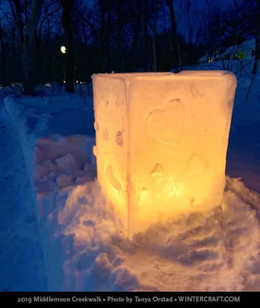Window Surround Ice Lantern by Mary Arneson 2019 Middlemoon Creekwalk photo by Tanya Orstad