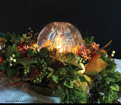 #Wintercraft # Icelanterns Wintercraft centerpiece idea with fall flowers
