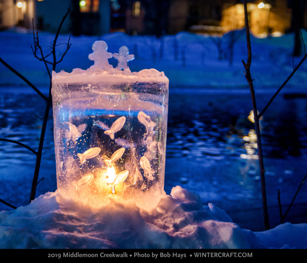 Ice Fish Tank by Mary Arneson 2019 Middlemoon Creekwalk photo by Bob Hays wintercraft