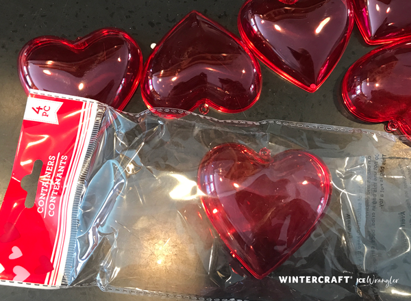 plastic hearts in package from dollar store