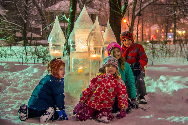 Kids explore the new Ice Castle at the 2018 Middlemoon Creekwalk