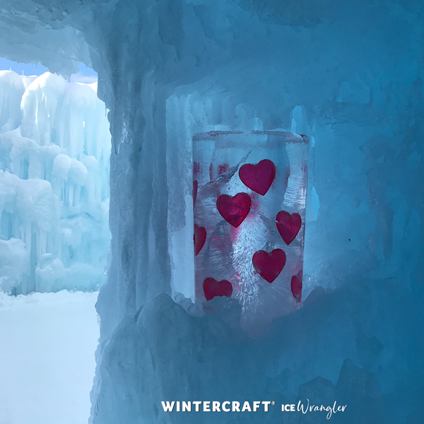 Valentine's Day Hearts ice lantern in the ice castle minnesota ice wrangler wintercraft