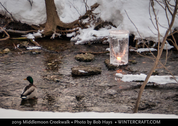 Tom placed a pillar ice lantern in the creek and lit it with a candle for 2019 Middlemoon Creekwalk. Photo by Bob Hays