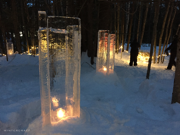 square towers of ice with candles Ice Wrangler