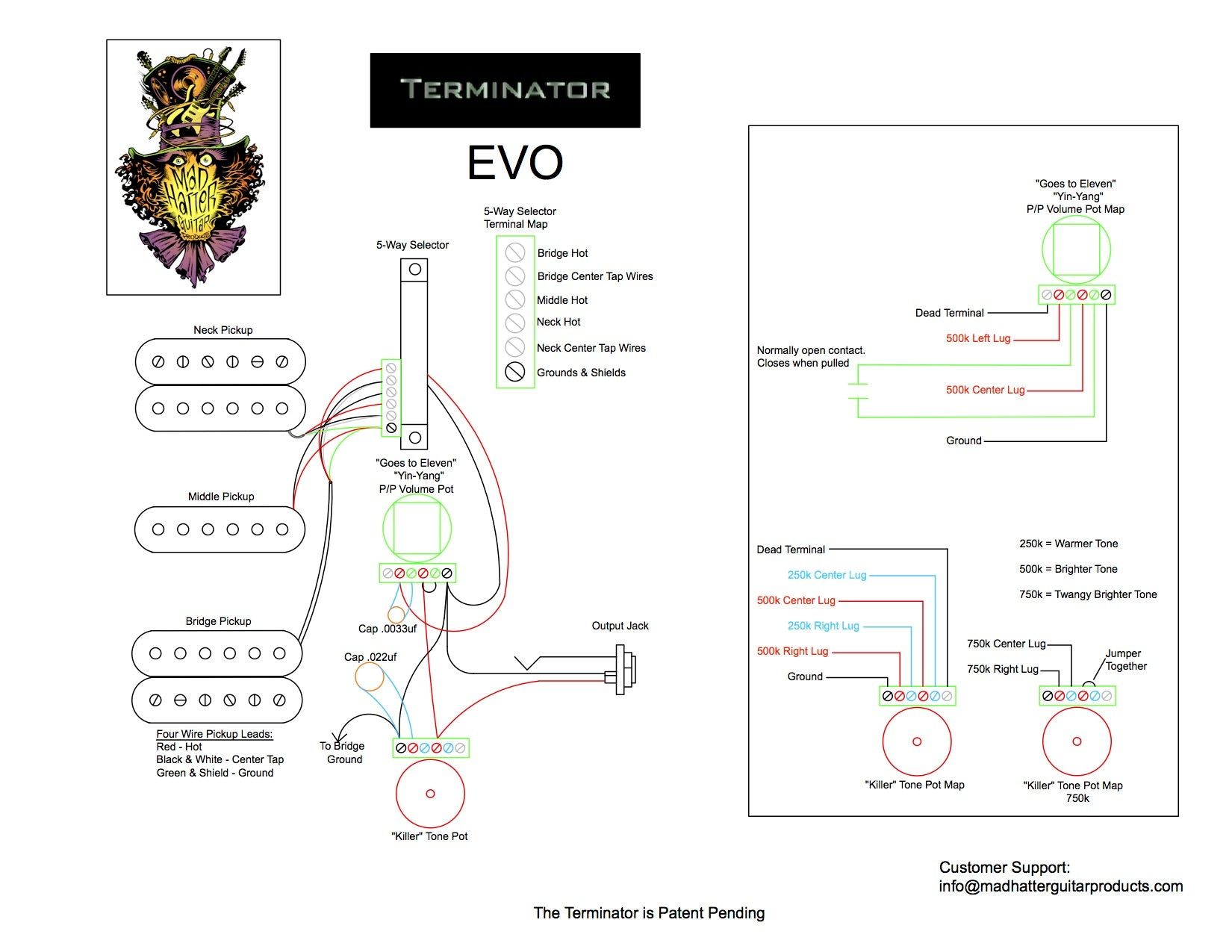Terminator Wiring Instructions Mad Hatter Guitar Products Home Wiring  Diagrams Mad Wiring Diagram