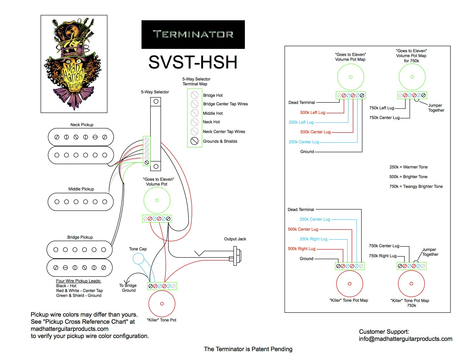 Terminator Wiring Instructions Mad Hatter Guitar Products Diagrams No Tone Note Previous To January 2018 All 5s Selector Switches Had A Green And White Wire That Are Longer Used If Your System Has These Wires Please Cut