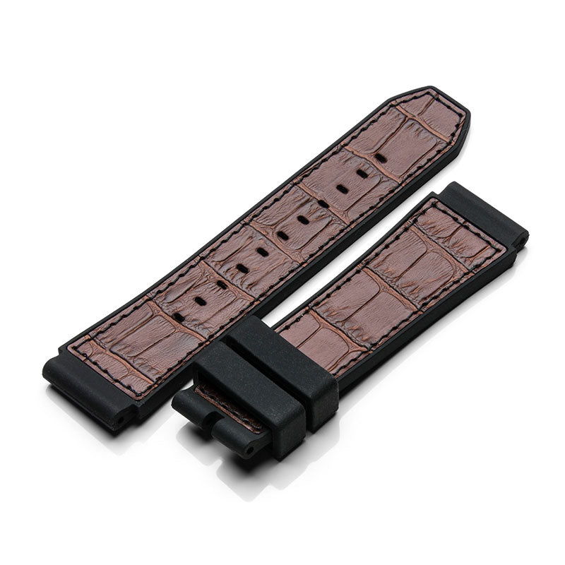 SB210RL - BROWN CROC STYLE RUBBER BAND / BLACK STITCH