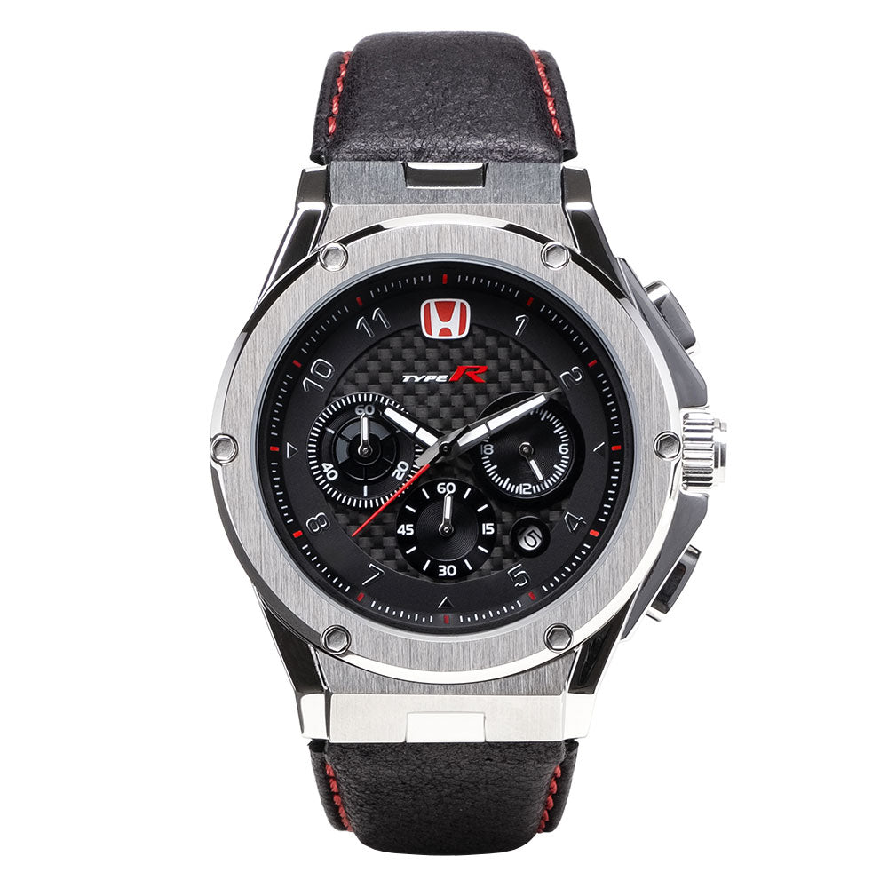 AM237TR - MK3 SILVER / BLACK CF / LEATHER BAND (Honda Type R)