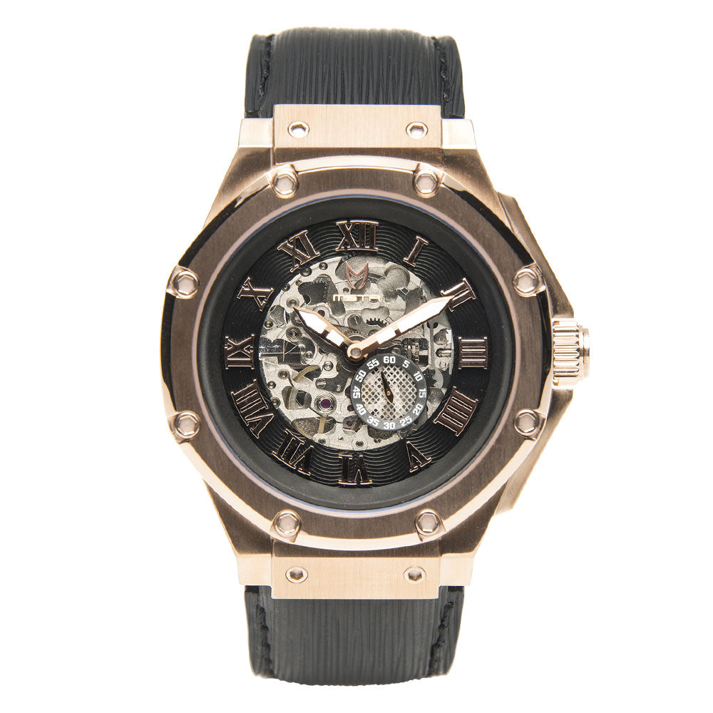 AM301EL - AMBASSADOR ROSE GOLD AUTOMATIC / BLACK / EPI LEATHER BAND