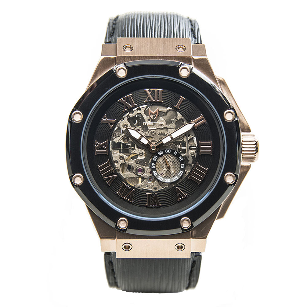 AM303EL - AMBASSADOR ROSE GOLD AUTOMATIC / BLACK EPI LEATHER BAND