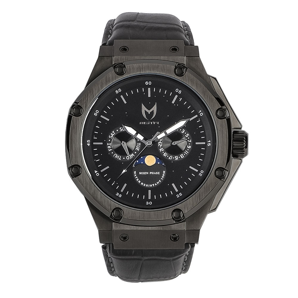 AM305CB - AMBASSADOR MOONPHASE BLACK / BLACK / CROC STYLE BAND