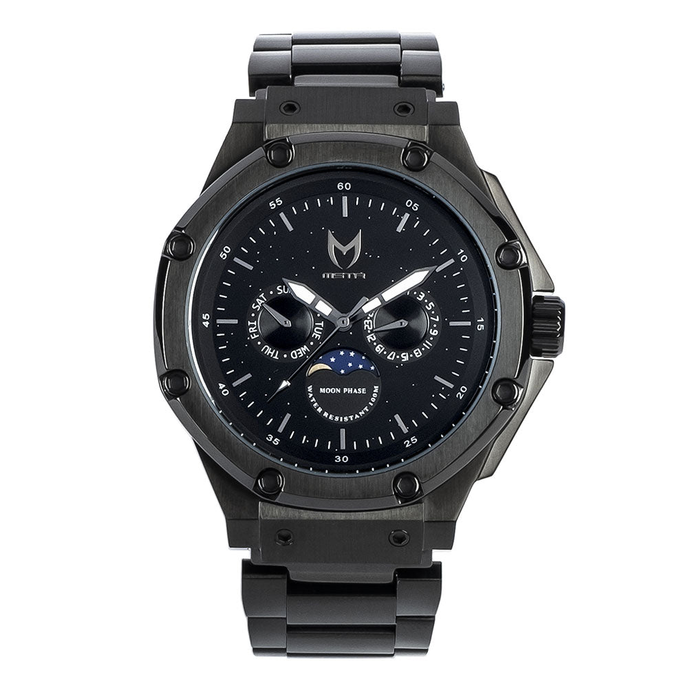 AM305SS - AMBASSADOR MOONPHASE BLACK / BLACK / SS BAND